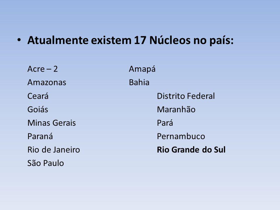 Atualmente existem 17 Núcleos no país: Acre – 2 Amapá AmazonasBahia CearáDistrito Federal GoiásMaranhão Minas GeraisPará ParanáPernambuco Rio de Janei