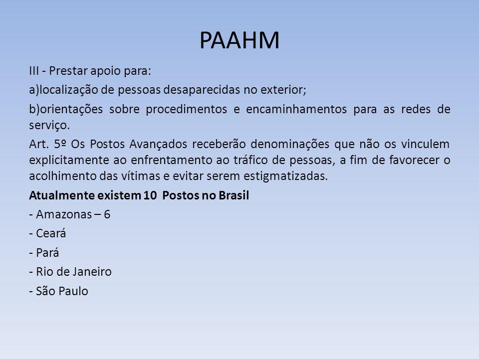 PAAHM III - Prestar apoio para: a)localização de pessoas desaparecidas no exterior; b)orientações sobre procedimentos e encaminhamentos para as redes