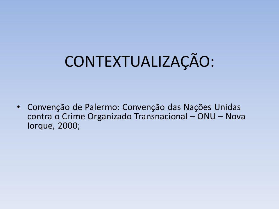 CONTEXTUALIZAÇÃO: Convenção de Palermo: Convenção das Nações Unidas contra o Crime Organizado Transnacional – ONU – Nova Iorque, 2000;