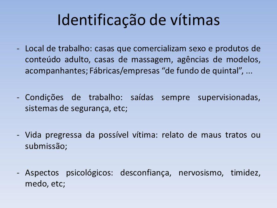 Identificação de vítimas -Local de trabalho: casas que comercializam sexo e produtos de conteúdo adulto, casas de massagem, agências de modelos, acomp