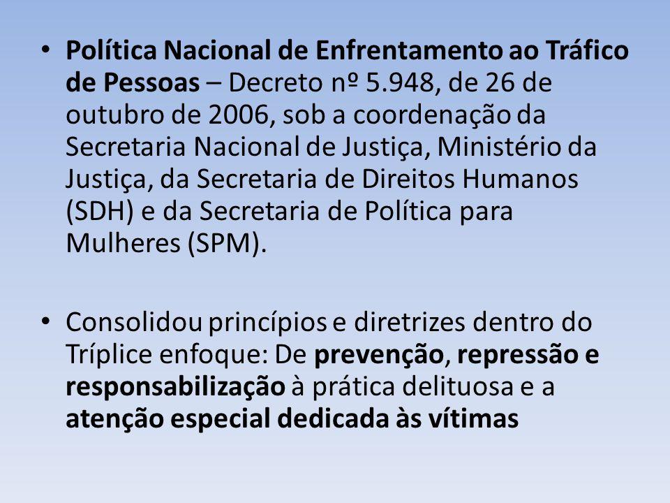 Política Nacional de Enfrentamento ao Tráfico de Pessoas – Decreto nº 5.948, de 26 de outubro de 2006, sob a coordenação da Secretaria Nacional de Jus