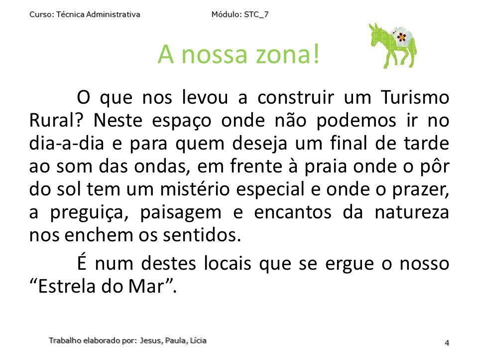 A nossa zona! Curso: Técnica Administrativa Módulo: STC_7 Trabalho elaborado por: Jesus, Paula, Lícia 4 O que nos levou a construir um Turismo Rural?