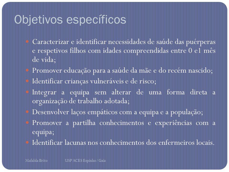 Objetivos específicos Caracterizar e identificar necessidades de saúde das puérperas e respetivos filhos com idades compreendidas entre 0 e1 mês de vi