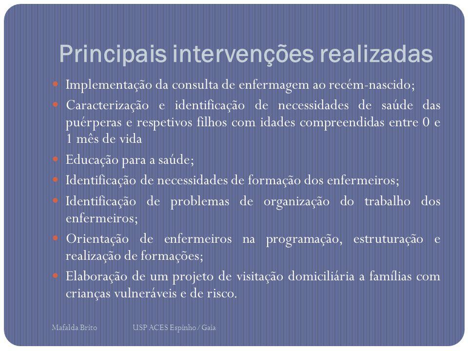 Principais intervenções realizadas Implementação da consulta de enfermagem ao recém-nascido; Caracterização e identificação de necessidades de saúde d