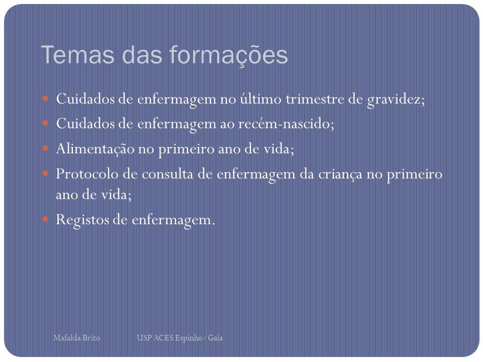 Temas das formações Cuidados de enfermagem no último trimestre de gravidez; Cuidados de enfermagem ao recém-nascido; Alimentação no primeiro ano de vida; Protocolo de consulta de enfermagem da criança no primeiro ano de vida; Registos de enfermagem.