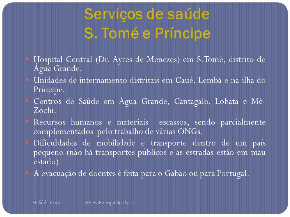 Serviços de saúde S. Tomé e Príncipe Hospital Central (Dr. Ayres de Menezes) em S.Tomé, distrito de Água Grande. Unidades de internamento distritais e