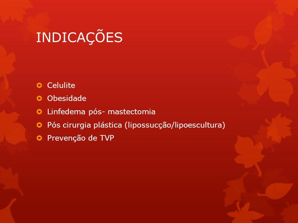 INDICAÇÕES  Celulite  Obesidade  Linfedema pós- mastectomia  Pós cirurgia plástica (lipossucção/lipoescultura)  Prevenção de TVP
