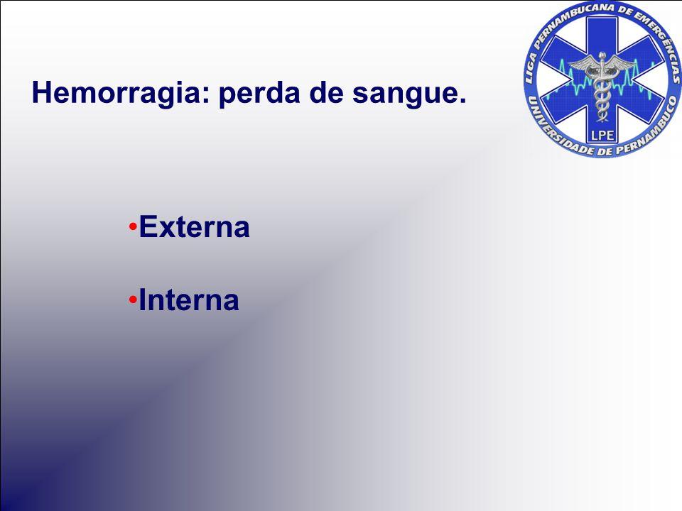Externa Interna Hemorragia: perda de sangue.