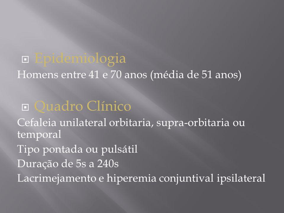  Epidemiologia Homens entre 41 e 70 anos (média de 51 anos)  Quadro Clínico Cefaleia unilateral orbitaria, supra-orbitaria ou temporal Tipo pontada ou pulsátil Duração de 5s a 240s Lacrimejamento e hiperemia conjuntival ipsilateral