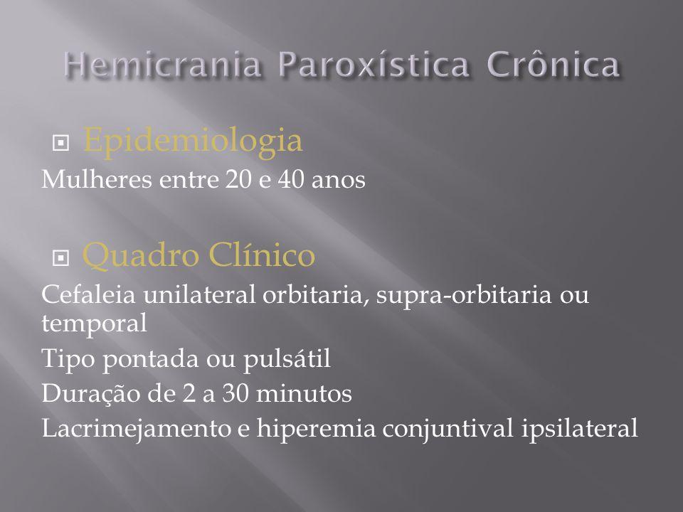  Epidemiologia Mulheres entre 20 e 40 anos  Quadro Clínico Cefaleia unilateral orbitaria, supra-orbitaria ou temporal Tipo pontada ou pulsátil Duração de 2 a 30 minutos Lacrimejamento e hiperemia conjuntival ipsilateral