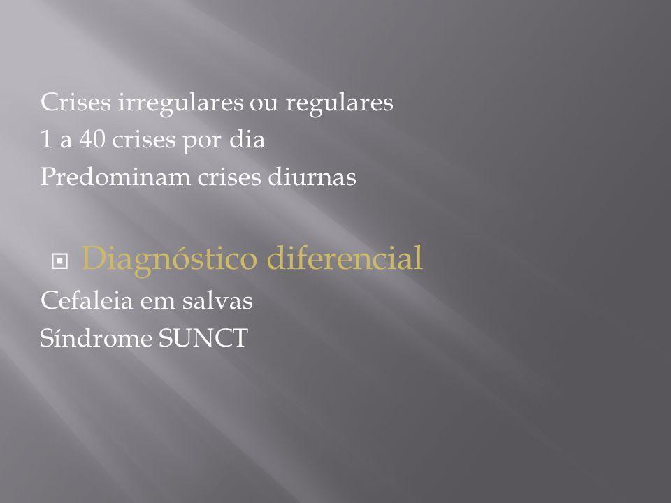 Crises irregulares ou regulares 1 a 40 crises por dia Predominam crises diurnas  Diagnóstico diferencial Cefaleia em salvas Síndrome SUNCT