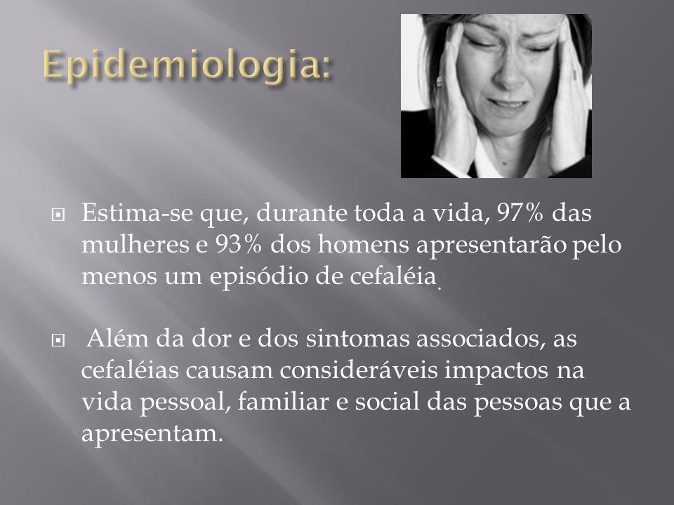  Gênero;  Idade;  Início dessa cefaléia;  Localização da dor (Unilateral ou bilateral,irradiação...);  Intensidade da dor (fraca,moderada ou forte);  Qualidade da dor (pressão,aperto/queimação/pontada/lancinante/pulsátil ou latejante/contínua e constante);  Sinais e sintomas que acompanham a dor (Náusea,fotofobia e fonofobia...);  Fatores desencadeantes (Movimentos com o pescoço, alimentos, estresse, menstruação, reposição hormonal, aumento do intervalo entre as refeições,período de sono...);  Fatores de piora e de melhora da dor;  Frequência da dor em dias no mês;  Sinais e sintomas que precedem a dor bem-descrita (alterações visuais,sensitivas,motoras) e sua duração;