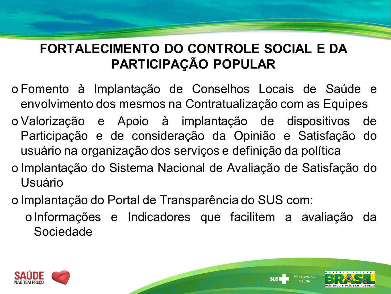 FORTALECIMENTO DO CONTROLE SOCIAL E DA PARTICIPAÇÃO POPULAR  Fomento à Implantação de Conselhos Locais de Saúde e envolvimento dos mesmos na Contratu