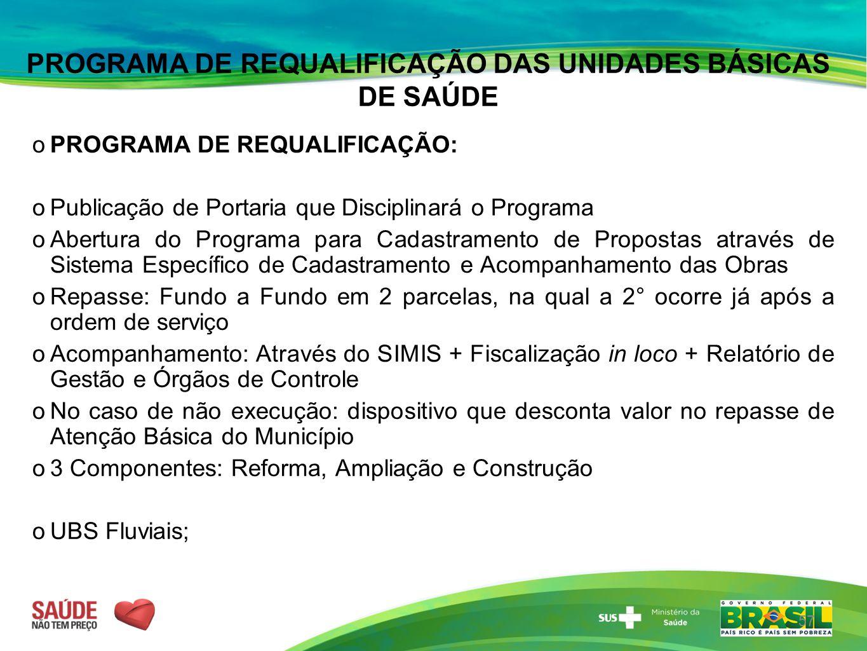 PROGRAMA DE REQUALIFICAÇÃO DAS UNIDADES BÁSICAS DE SAÚDE  PROGRAMA DE REQUALIFICAÇÃO:  Publicação de Portaria que Disciplinará o Programa  Abertura