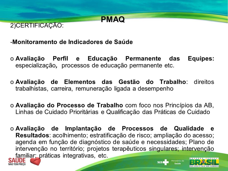 PMAQ 2)CERTIFICAÇÃO: -Monitoramento de Indicadores de Saúde  Avaliação Perfil e Educação Permanente das Equipes: especialização, processos de educaçã