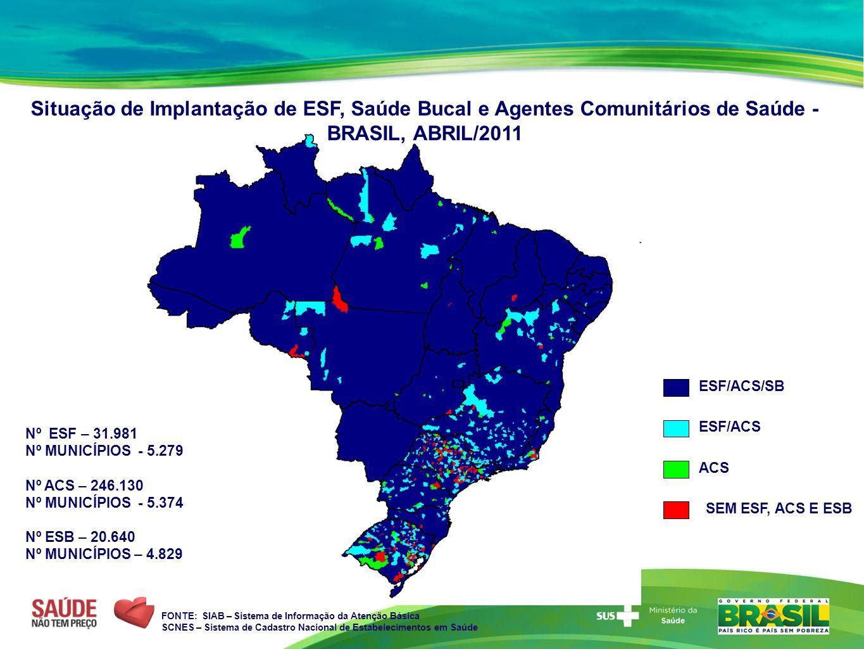 ESF/ACS/SB ESF/ACS ACS SEM ESF, ACS E ESB Situação de Implantação de ESF, Saúde Bucal e Agentes Comunitários de Saúde - BRASIL, ABRIL/2011 FONTE: SIAB