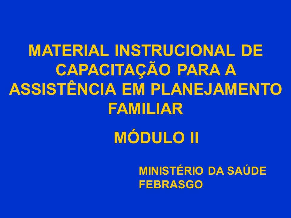 CAPACITAÇÃO EM ASSISTÊNCIA EM PLANEJAMENTO FAMILIAR MÓDULO II - (104 slides) ATIVIDADE / CONTEÚDO TEMPO OBJETIVOS 1.