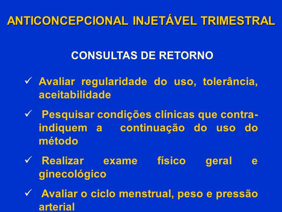 ANTICONCEPCIONAL INJETÁVEL TRIMESTRAL CONSULTAS DE RETORNO Avaliar regularidade do uso, tolerância, aceitabilidade Pesquisar condições clínicas que co