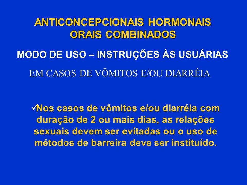 ANTICONCEPCIONAIS HORMONAIS ORAIS COMBINADOS Nos casos de vômitos e/ou diarréia com duração de 2 ou mais dias, as relações sexuais devem ser evitadas