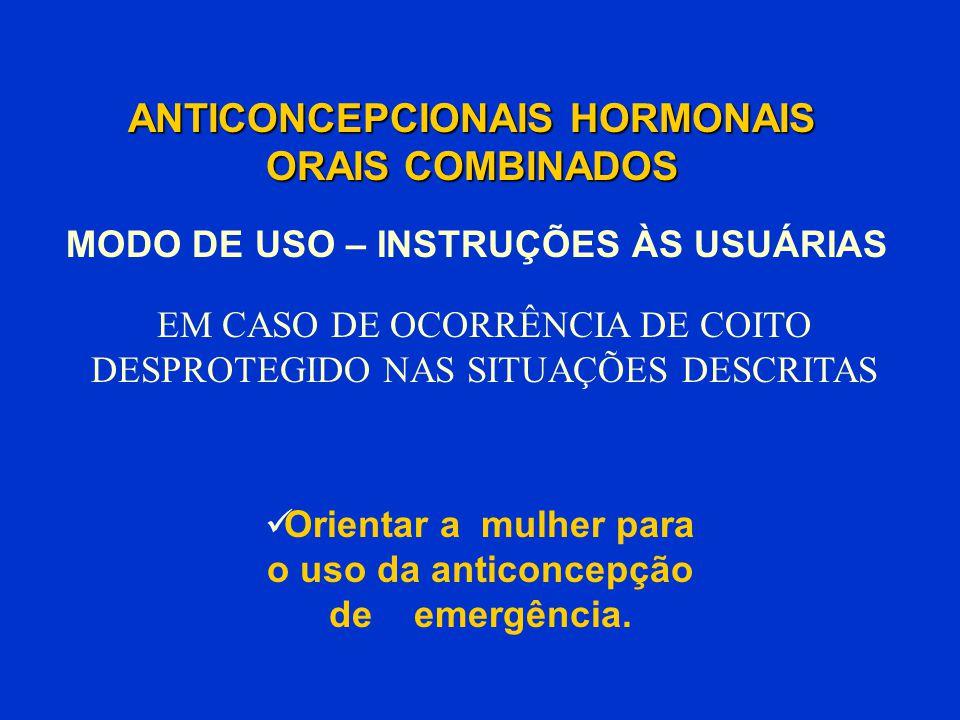 ANTICONCEPCIONAIS HORMONAIS ORAIS COMBINADOS Orientar a mulher para o uso da anticoncepção de emergência. MODO DE USO – INSTRUÇÕES ÀS USUÁRIAS EM CASO
