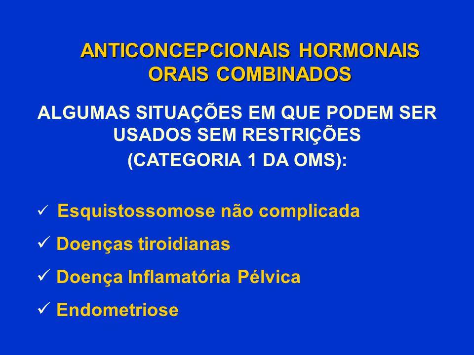 ANTICONCEPCIONAIS HORMONAIS ORAIS COMBINADOS Esquistossomose não complicada Doenças tiroidianas Doença Inflamatória Pélvica Endometriose ALGUMAS SITUA
