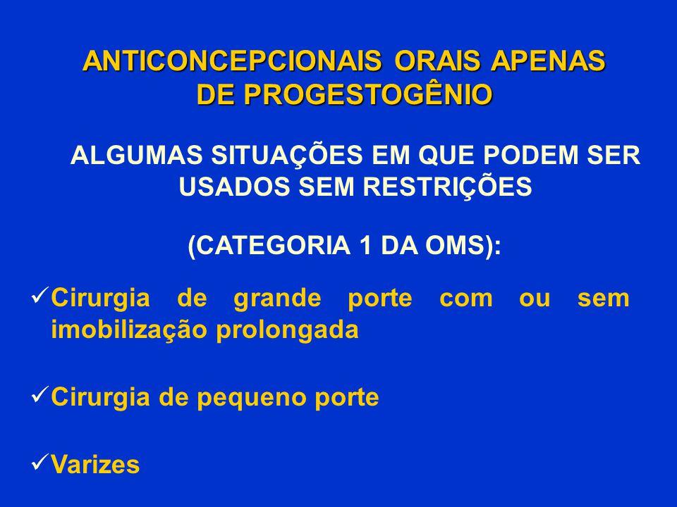 Cirurgia de grande porte com ou sem imobilização prolongada Cirurgia de pequeno porte Varizes ANTICONCEPCIONAIS ORAIS APENAS DE PROGESTOGÊNIO (CATEGOR