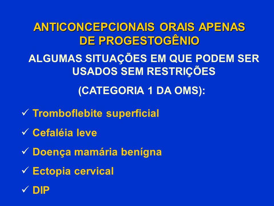 Tromboflebite superficial Cefaléia leve Doença mamária benígna Ectopia cervical DIP ANTICONCEPCIONAIS ORAIS APENAS DE PROGESTOGÊNIO (CATEGORIA 1 DA OM
