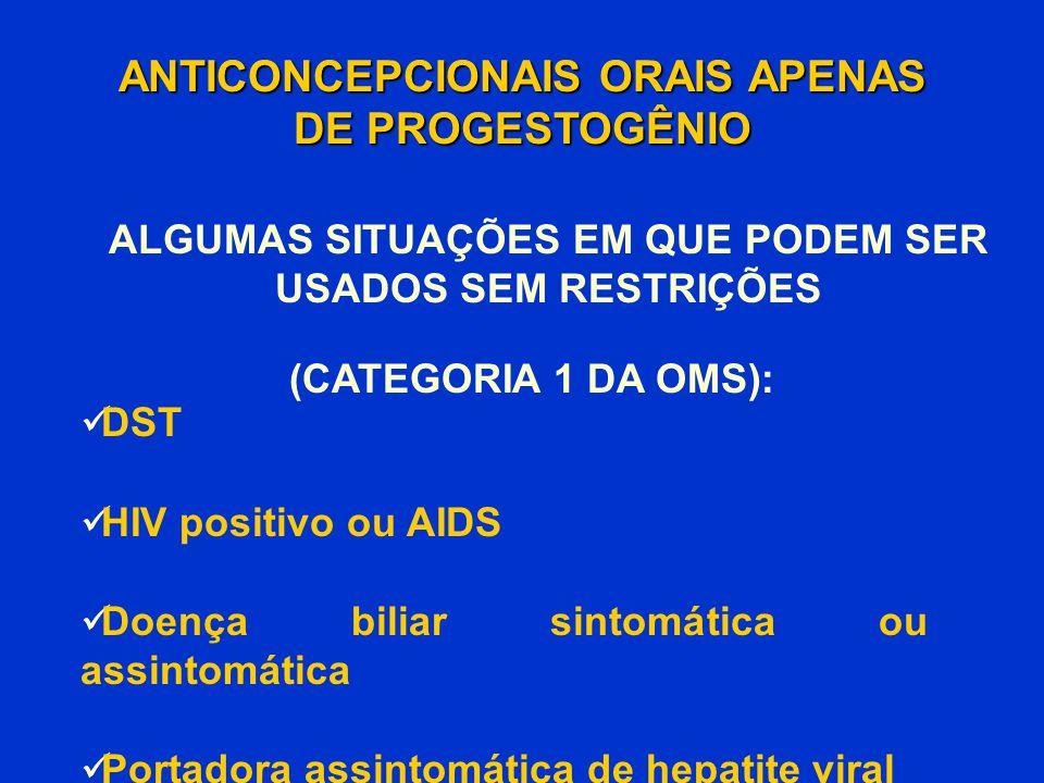DST HIV positivo ou AIDS Doença biliar sintomática ou assintomática Portadora assintomática de hepatite viral ANTICONCEPCIONAIS ORAIS APENAS DE PROGES