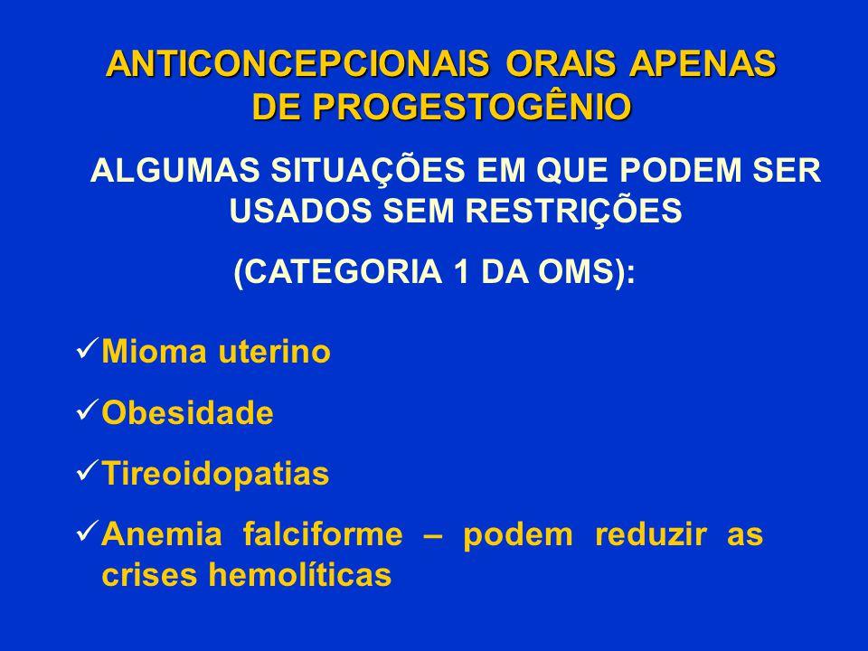 Mioma uterino Obesidade Tireoidopatias Anemia falciforme – podem reduzir as crises hemolíticas ANTICONCEPCIONAIS ORAIS APENAS DE PROGESTOGÊNIO (CATEGO