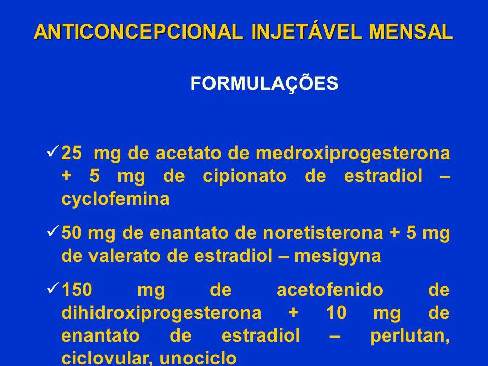 ANTICONCEPCIONAL INJETÁVEL MENSAL FORMULAÇÕES 25 mg de acetato de medroxiprogesterona + 5 mg de cipionato de estradiol – cyclofemina 50 mg de enantato