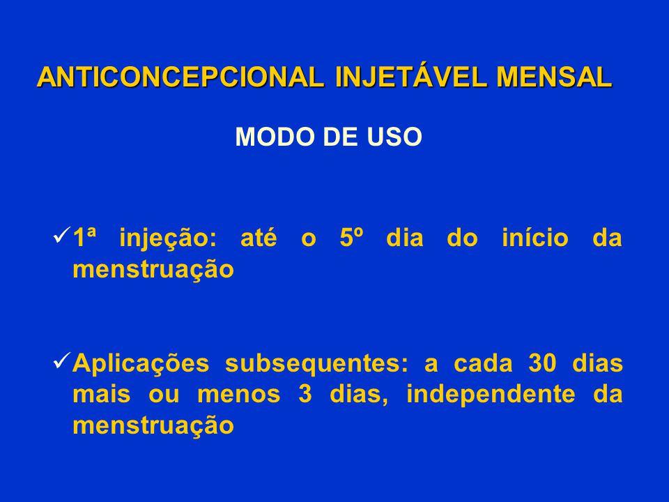 MODO DE USO 1ª injeção: até o 5º dia do início da menstruação Aplicações subsequentes: a cada 30 dias mais ou menos 3 dias, independente da menstruaçã
