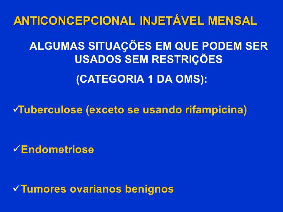 Tuberculose (exceto se usando rifampicina) Endometriose Tumores ovarianos benignos ANTICONCEPCIONAL INJETÁVEL MENSAL (CATEGORIA 1 DA OMS): ALGUMAS SIT