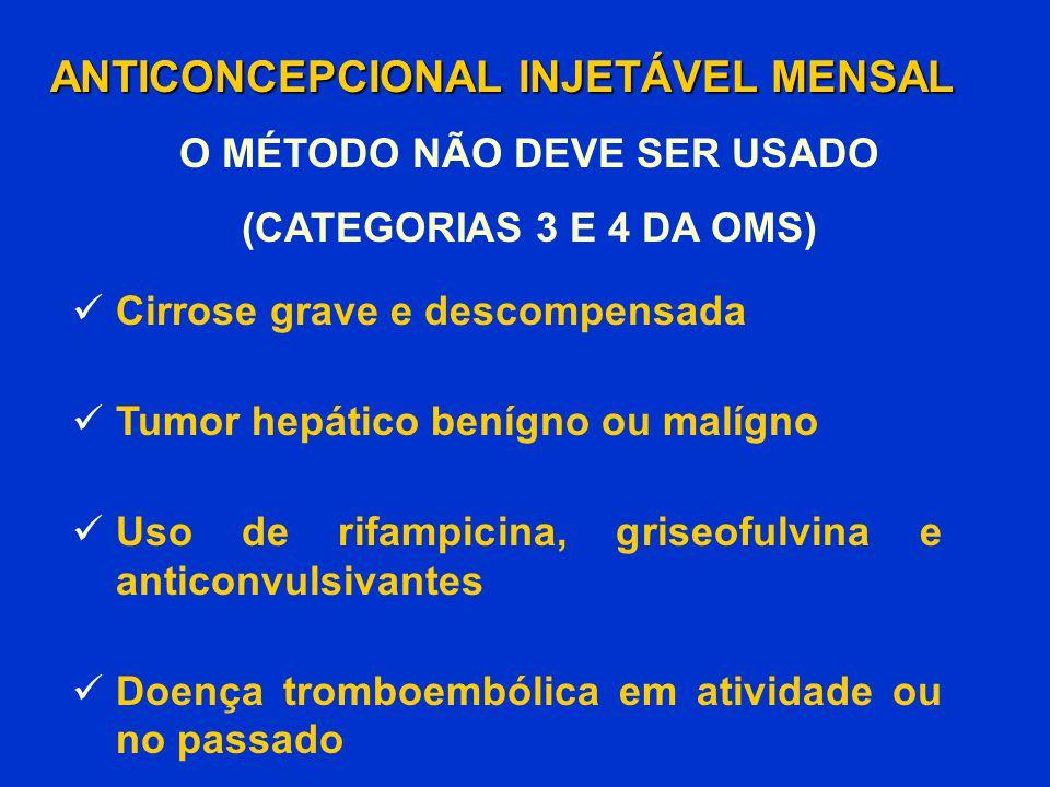 Cirrose grave e descompensada Tumor hepático benígno ou malígno Uso de rifampicina, griseofulvina e anticonvulsivantes Doença tromboembólica em ativid