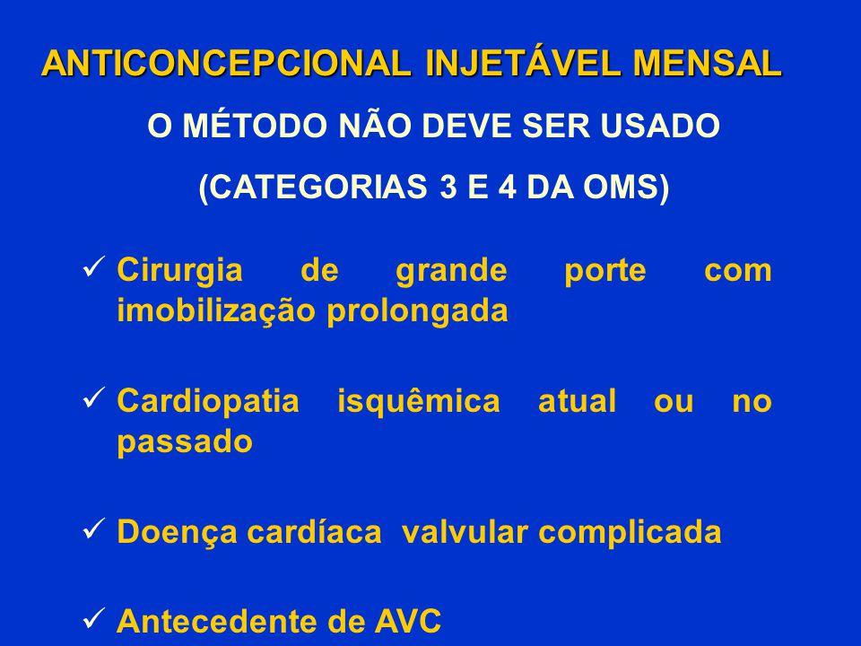 Cirurgia de grande porte com imobilização prolongada Cardiopatia isquêmica atual ou no passado Doença cardíaca valvular complicada Antecedente de AVC