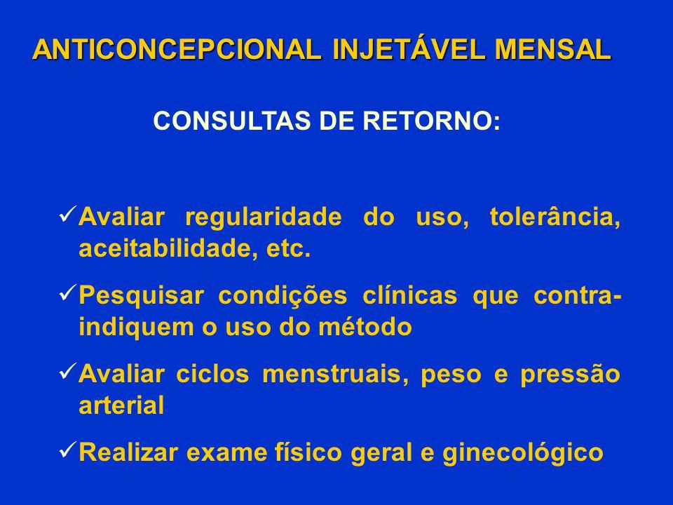 Avaliar regularidade do uso, tolerância, aceitabilidade, etc. Pesquisar condições clínicas que contra- indiquem o uso do método Avaliar ciclos menstru