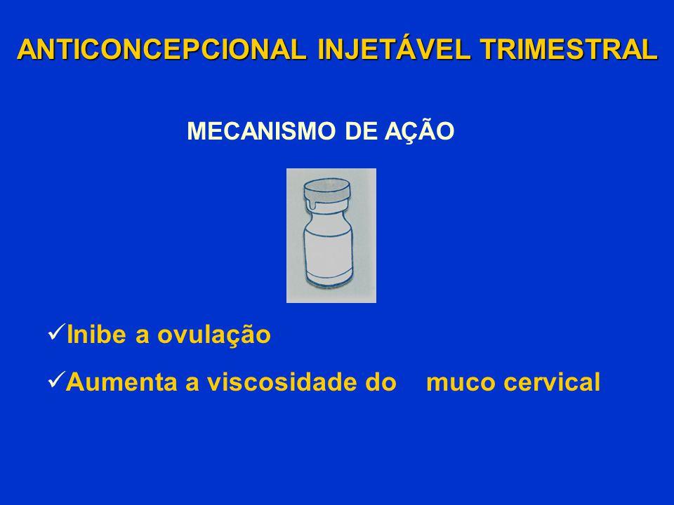 Inibe a ovulação Aumenta a viscosidade do muco cervical ANTICONCEPCIONAL INJETÁVEL TRIMESTRAL MECANISMO DE AÇÃO