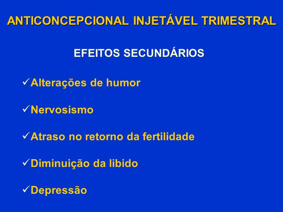 Alterações de humor Nervosismo Atraso no retorno da fertilidade Diminuição da libido Depressão ANTICONCEPCIONAL INJETÁVEL TRIMESTRAL EFEITOS SECUNDÁRI
