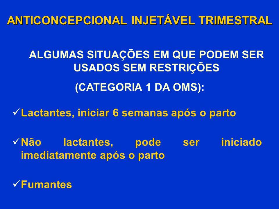 Lactantes, iniciar 6 semanas após o parto Não lactantes, pode ser iniciado imediatamente após o parto Fumantes ANTICONCEPCIONAL INJETÁVEL TRIMESTRAL (