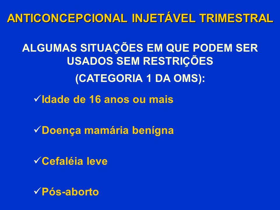 Idade de 16 anos ou mais Doença mamária benígna Cefaléia leve Pós-aborto ANTICONCEPCIONAL INJETÁVEL TRIMESTRAL (CATEGORIA 1 DA OMS): ALGUMAS SITUAÇÕES