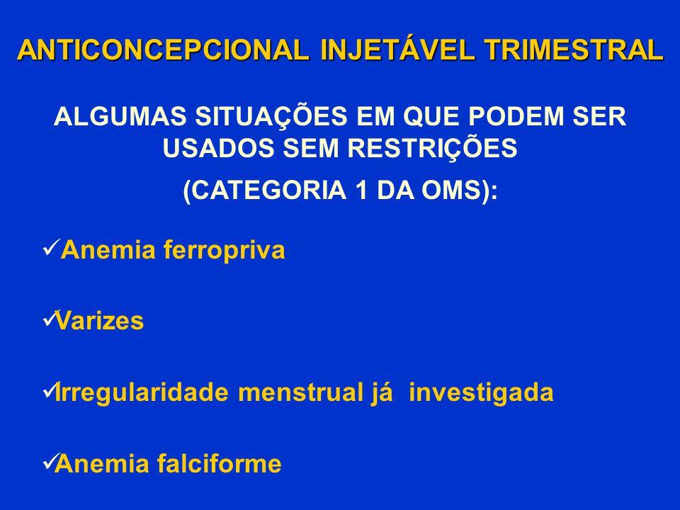 ANTICONCEPCIONAL INJETÁVEL TRIMESTRAL Anemia ferropriva Varizes Irregularidade menstrual já investigada Anemia falciforme (CATEGORIA 1 DA OMS): ALGUMA