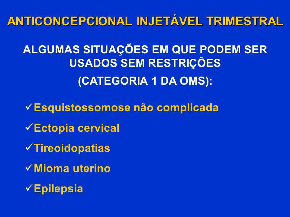 ANTICONCEPCIONAL INJETÁVEL TRIMESTRAL Esquistossomose não complicada Ectopia cervical Tireoidopatias Mioma uterino Epilepsia (CATEGORIA 1 DA OMS): ALG