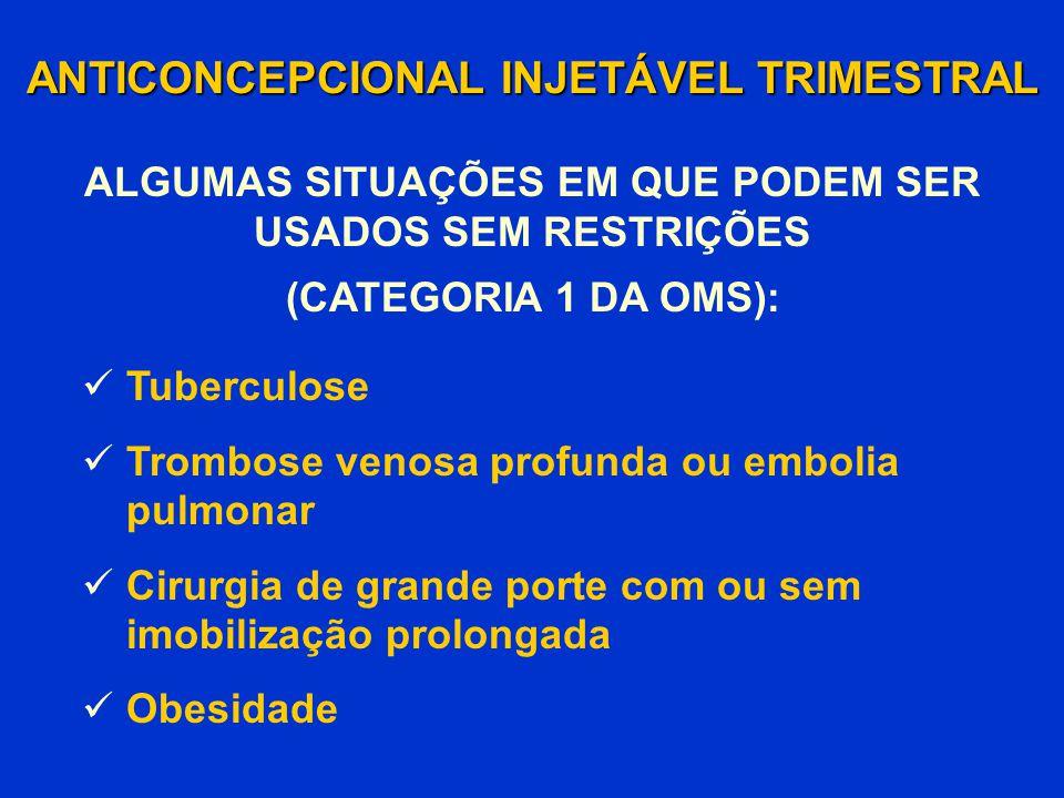 ANTICONCEPCIONAL INJETÁVEL TRIMESTRAL Tuberculose Trombose venosa profunda ou embolia pulmonar Cirurgia de grande porte com ou sem imobilização prolon