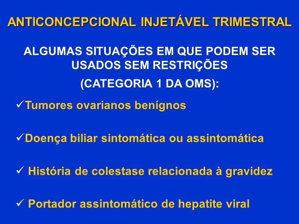 ANTICONCEPCIONAL INJETÁVEL TRIMESTRAL Tumores ovarianos benígnos Doença biliar sintomática ou assintomática História de colestase relacionada à gravid