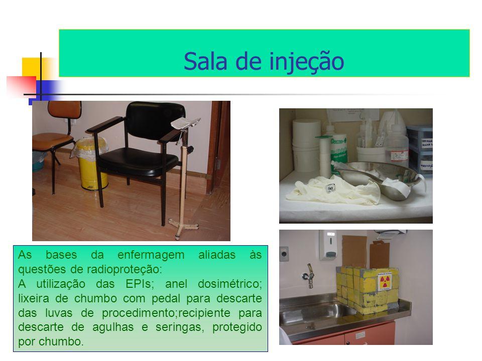 Sala de injeção As bases da enfermagem aliadas às questões de radioproteção: A utilização das EPIs; anel dosimétrico; lixeira de chumbo com pedal para descarte das luvas de procedimento;recipiente para descarte de agulhas e seringas, protegido por chumbo.