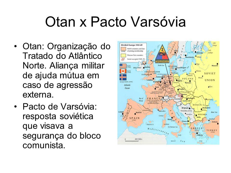 Otan x Pacto Varsóvia Otan: Organização do Tratado do Atlântico Norte. Aliança militar de ajuda mútua em caso de agressão externa. Pacto de Varsóvia: