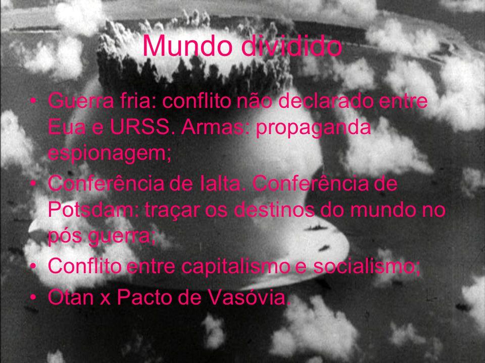 Mundo dividido Guerra fria: conflito não declarado entre Eua e URSS. Armas: propaganda espionagem; Conferência de Ialta. Conferência de Potsdam: traça
