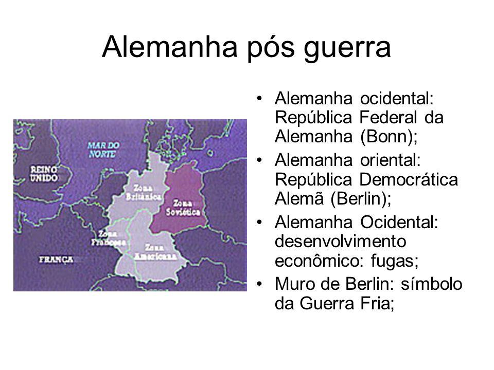 Alemanha pós guerra Alemanha ocidental: República Federal da Alemanha (Bonn); Alemanha oriental: República Democrática Alemã (Berlin); Alemanha Ociden