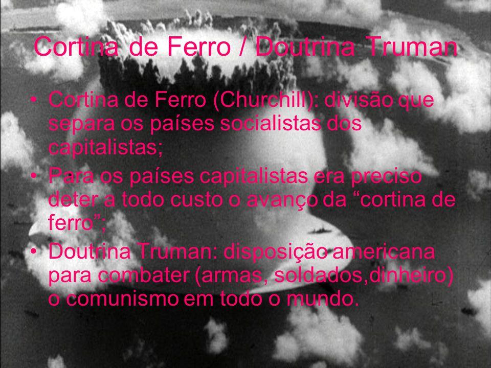 Cortina de Ferro / Doutrina Truman Cortina de Ferro (Churchill): divisão que separa os países socialistas dos capitalistas; Para os países capitalista
