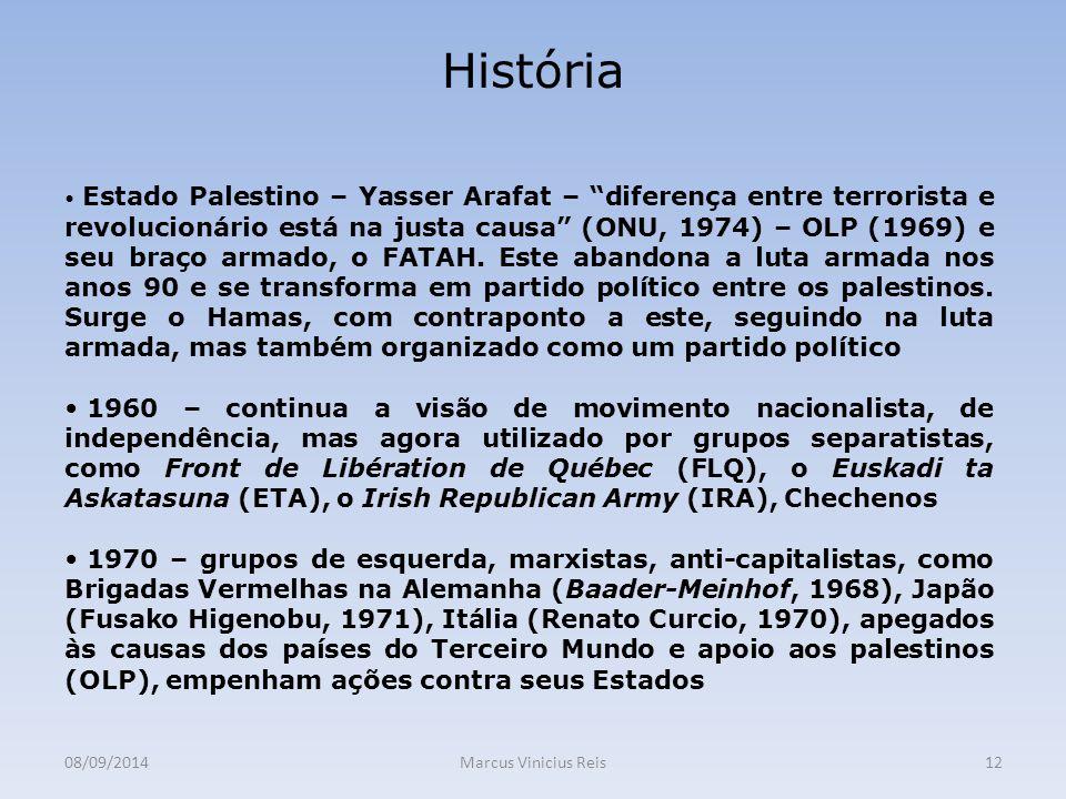 08/09/2014Marcus Vinicius Reis12 História Estado Palestino – Yasser Arafat – diferença entre terrorista e revolucionário está na justa causa (ONU, 1974) – OLP (1969) e seu braço armado, o FATAH.