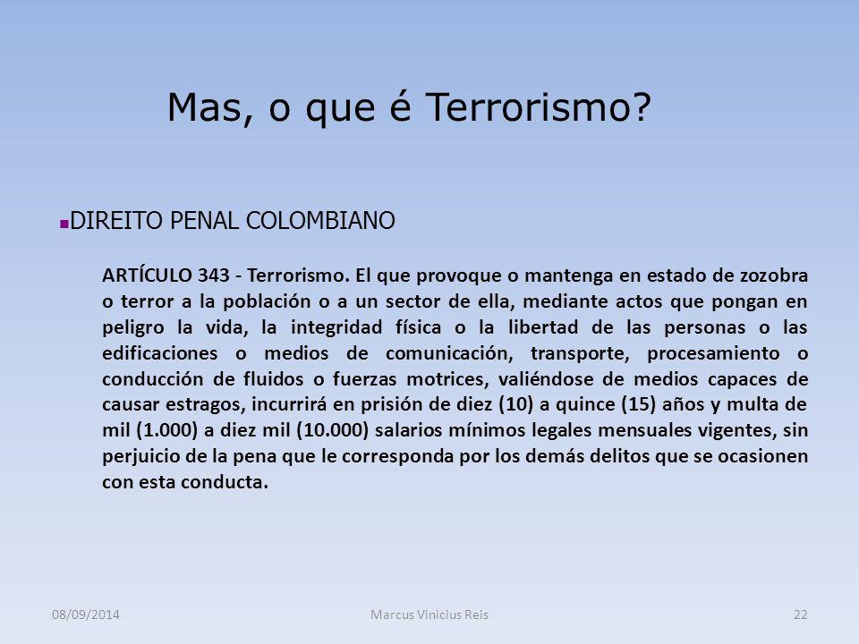 08/09/2014Marcus Vinicius Reis22 Mas, o que é Terrorismo.